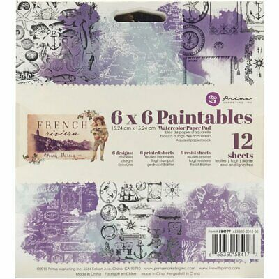 Prima Marketing - Paintables Watercolour Paper 6x6 - French Riviera