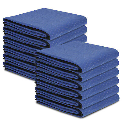 "Blue 80""x72"" Moving Blankets 12 Performance Heavy Duty Professional Quality"