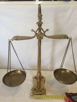 Beautiful Ornate Vintage Brass Italian Balance Beam Weighing Scales & Weights