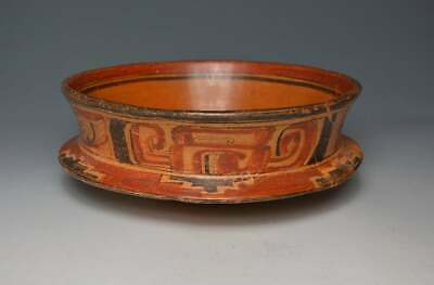 Pre Columbian Large Mayan Polychrome  Ceremonial Pottery Bowl C A.D. 550-950