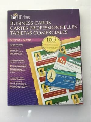 """Royal Brites Matte White Business Cards 8.5"""" x 11"""" Sheets Open Box 730 count"""