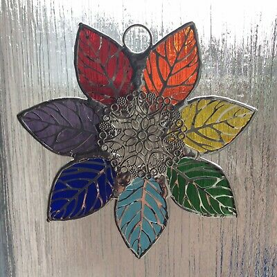 Hand Made Stained Glass Rainbow Leaf Suncatcher