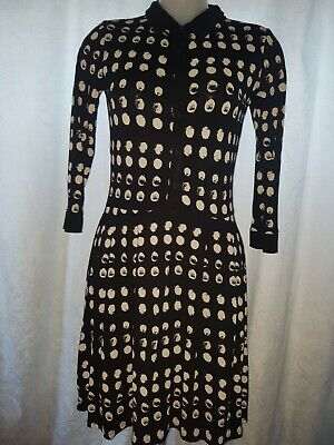 Next - Black with White Spots Stretchy Long Sleeve Smart Dress - Size 8 -  Small