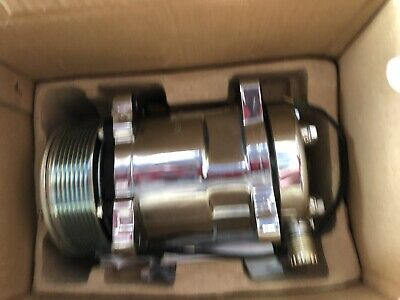 Chrome Plated Sanden 508 Style AC Compressor 8 Rib Pulley Beast Serpentine