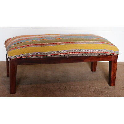 A Namaste Sheesham Framed Double Footstool Covered in Zanskar Kilim