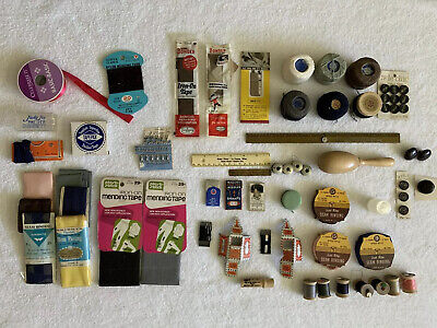 Vintage Lot Of Sewing Supplies - Thread, Darning, Mending, Needles, Bobbins