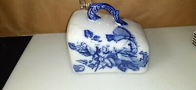 Antique unmarked porcelain  BUTTER or cheese  cover w/ blue decor