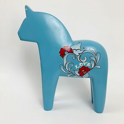 "Large Ikea Dala Horse 10 1/2"" High Blue Love Rare Sweden Decor"