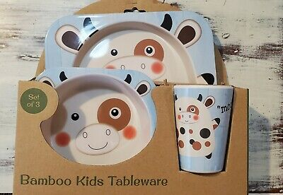3 Piece Bamboo Kids Tableware