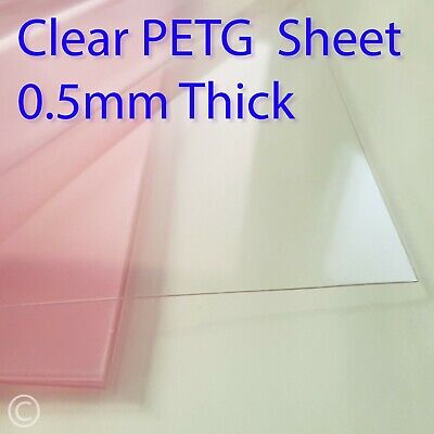 0.5mm Clear PETG sheet - for face mask Visors, crafting, doll house, Pet perspex