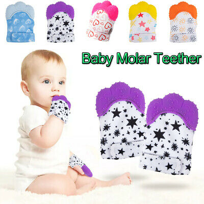 Baby Silicone Mitt Teething Mitten Molar Glove Candy Wrapper Soft Teether Toy UK