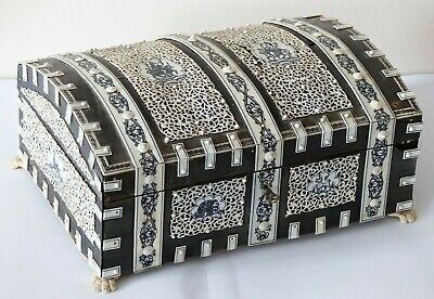 RARE Large Antique 19th Century Anglo Indian Vizagapatam Table Box / Casket