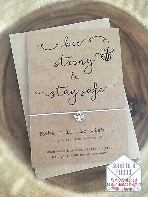 Bee Be Strong & Stay Safe Anxiety Positivity Motivational Wish Bracelet Gift
