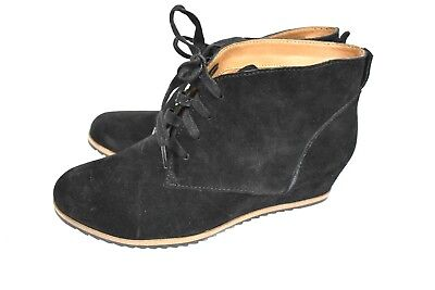 New Susina Women's Wedge Heel Lace Up Black Suede Heel Ankle Boots Size 7.5