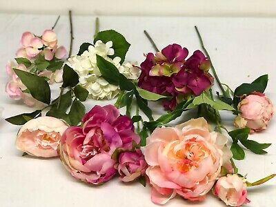 6 Luxury mixed artificial flowers for wreath making & crafts. Peony & Hydrangea