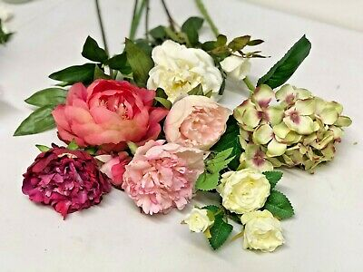 Mixed artificial flowers for wreath making & craft projects. Peony & Rose