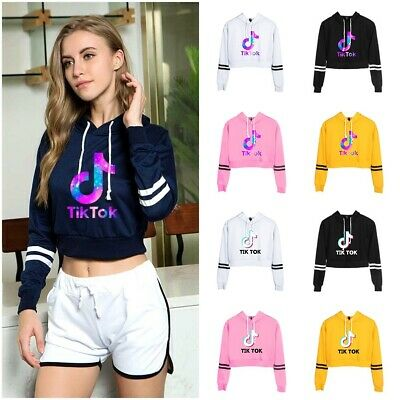 Tik Tok Womens Girls Hoodie Cropped Hoody Sweatshirt Crop Top Jumper Pullover
