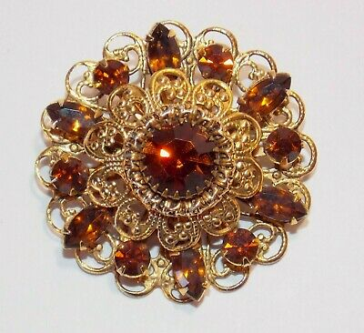 Beautiful Vintage Smokey Topaz Colored Filigree Rhinestone Gold Tone Brooch Pin