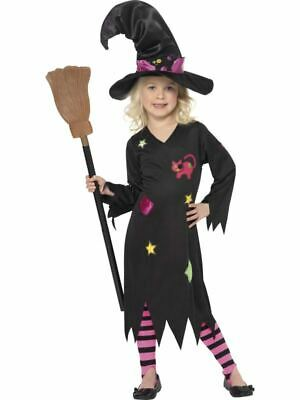 Girls Cinder Witch Halloween Fancy Dress Costume + Hat + Tights Kids Outfit