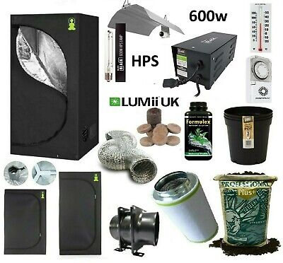 Complete 600w HPS Grow Light Tent Kit Set Up ALL SIZES indoors hydroponics = Mag