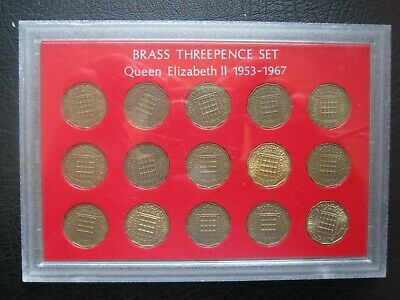 British 1953-1967 Elizabeth II 15 Brass Threepence 3d Coin Collection Set Cased