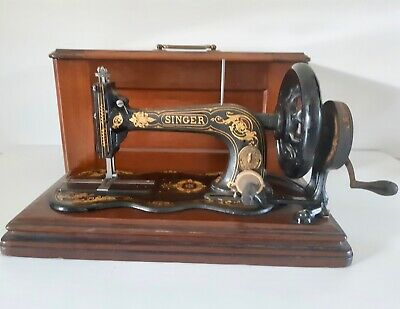 Antique 1879 Singer Sewing Machine 12k Fiddle base Hand Crank Acanthus Leaves