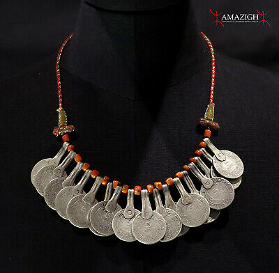 Old Berber Necklace - Silver Moroccan Coins and Coral  - North Morocco