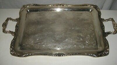 """Large  Heavy Silver Plate  Footed  Tray Wm.ROGERS 291,  27"""""""