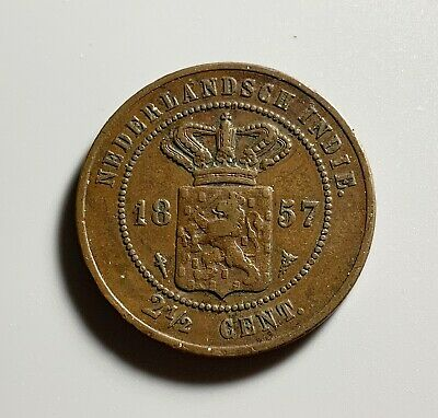 Very Nice 1857 Duntch Indonesia East Indies 2 1/2 cent Copper Coin