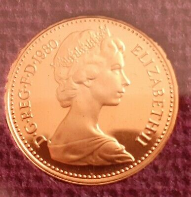 1980 Large halfpenny Proof Coin.  Low Mintage. 40TH Gift. Wow Mint perfect