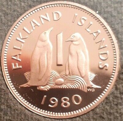 1980 Falkland Islands 1p Proof coin. Gentoo penguin. 40th gift. Very low mintage
