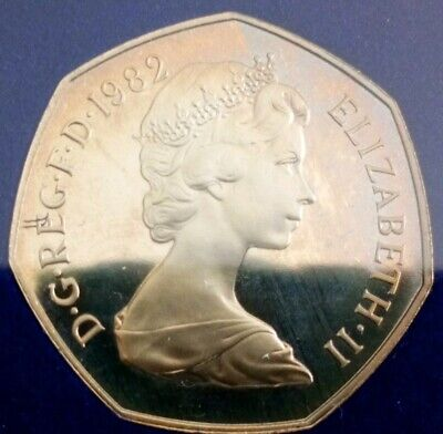 1982 Larger type 50p Proof Coin. Never released missing. Low Mintage of proof.