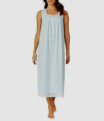 Eileen West Sleeveless Bluebell Ditsy 100% Cotton Lawn Ballet Nightgown Gown  M
