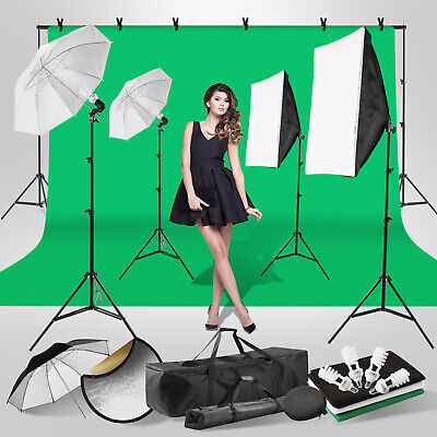 Photography Studio Continuous Lighting Kit Polyester Backdrop 2Softbox 3Umbrella