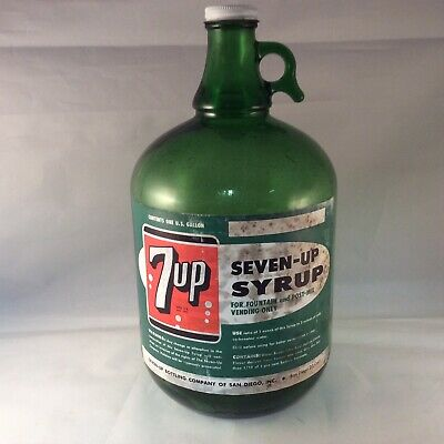 VINTAGE 7-UP FOUNTAIN SYRUP GALLON SODA JUG PAPER LABEL WITH CAP San Diego