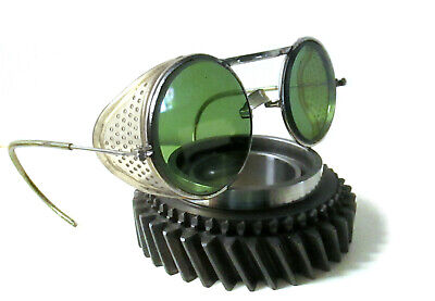 Antique Willson Green Goggles Sunglasses Vtg Cool Steampunk Safety Glasses Specs