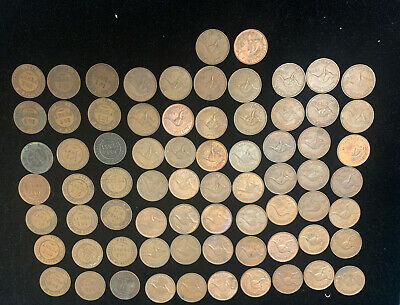 72 Large Lot Of Australian Pennies Date Range 1913 And Up