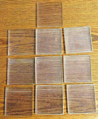 "Antique lot of 10 Luxfer prism glass tile Saw blade 4""X4"" ART DECO"