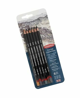 Derwent Tinted Charcoal Pencils, 4mm Core, Pack, 6 Count (2301689)