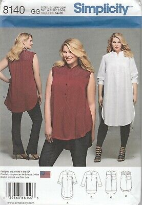 Simplicity Sewing Pattern 8140 Women's Shirt With Length Variations Sz 26W-32W