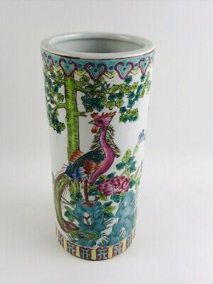 Antique Chinese Porcelain Umbrella Stand Vase Painted Famille Rose Peacock Large