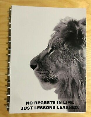 2020-2021 financial year diary Lion no regrets quote A5 WEEK TO VIEW