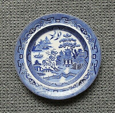 """Antique 10"""" Blue Willow Plate - Barker & Son - Circa 1850s"""