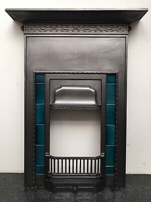 Original Restored Antique Cast Iron Art Deco Tall Tiled Fireplace Insert (QP417)