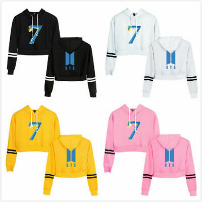 Women Girls Kpop BTS Crop Hoodie Sweatshirt Long Sleeve Jumper Hooded Coat Tops