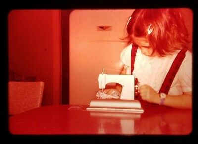 Pretty Little Girl with Toy Sewing Machine 1950s Vintage 35mm Slide Photo