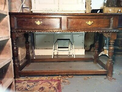 18th Century Dark Oak Console Table Stretcher Base Side table