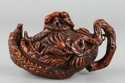 Chinese old Exquisite Hand-carved Natural Boxwood Bergamot statue