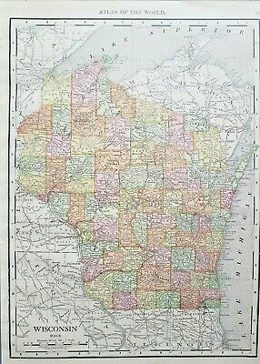 Rand McNally 1916 Antique Map of Wisconsin