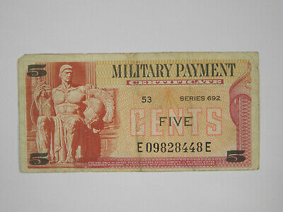 Us Series 692 5 Cents Mpc Military Payment Certificate - Circulated!